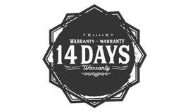 14 days warranty design stamp. Badge icon stock illustration
