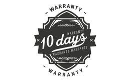 10 days warranty design stamp. Badge icon stock illustration