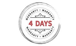 4 days warranty icon vintage. Rubber stamp guarantee Royalty Free Stock Photography