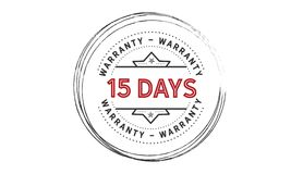15 days warranty icon vintage. Rubber stamp guarantee Royalty Free Stock Photo