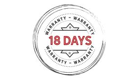 18 days warranty icon vintage. Rubber stamp guarantee Stock Photography