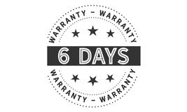 6 days warranty icon vintage. Rubber stamp guarantee Royalty Free Stock Photography