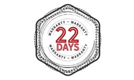 22 days warranty icon vintage. Rubber stamp guarantee Stock Photography
