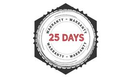 25 days warranty icon vintage. Rubber stamp guarantee Stock Image