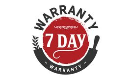 7 days warranty icon vintage. Rubber stamp guarantee Royalty Free Stock Photography