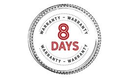 8 days warranty icon vintage. Rubber stamp guarantee Stock Photography