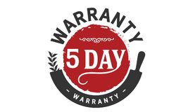 5 days warranty icon vintage. Rubber stamp guarantee Stock Images