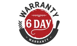 6 days warranty icon vintage. Rubber stamp guarantee Stock Image