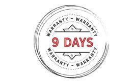 9 days warranty icon vintage. Rubber stamp guarantee Stock Photos