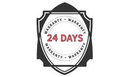 24 days warranty icon vintage. Rubber stamp guarantee Royalty Free Stock Photography