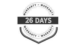 26 days warranty icon vintage. Rubber stamp guarantee Stock Photography