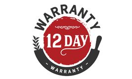 12 days warranty icon vintage. Rubber stamp guarantee Stock Image