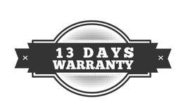 13 days warranty illustration design. Stamp badge icon stock illustration