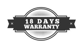 18 days warranty illustration design. Stamp badge icon stock illustration