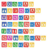 Days of the Week. On White Background stock image