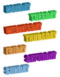 Days of the Week. 3d text. Days of the Week isolated over a white background vector illustration