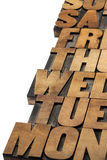 Days of week abstract. Isolated text in vintage letterpress wood type printing blocks stock photo