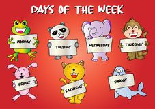 Days of the week. With animals stock illustration