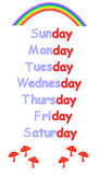 Days of the week for childrens education Stock Photography