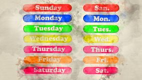 Days of the week close-up. Watercolor background Stock Image