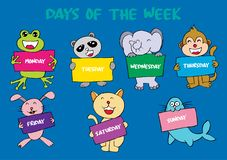 Days of the week. With animals vector illustration