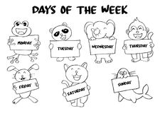 Days of the week. With animals royalty free illustration