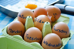 Days of the week with eggs Royalty Free Stock Photo