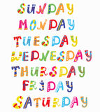 Days of the week funny banners Stock Photos