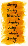 Days of the week. Hand drawn ink calligraphic lettering Stock Photos