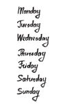 Days of the week. Hand drawn ink calligraphic lettering Royalty Free Stock Photos