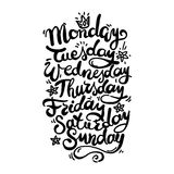 Days of Week. Hand Lettering Days of Week Stock Photos
