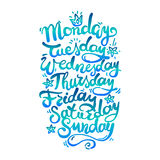 Days of Week. Hand Lettering Days of Week. Bluegreen color Royalty Free Stock Image