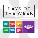 Days of the week hand lettering. Vector: sunday monday, tuesday, wednesday, thursday, friday, saturday Royalty Free Stock Photography