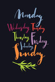 Days of the week Handwritten calligraphy Colorful set Royalty Free Stock Images