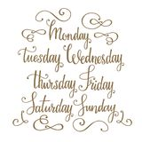 Days of the week handwritten vector calligraphy. Golden hand drawn lettering with decorative flourishes royalty free illustration