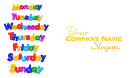 Days of the week in letter magnets Royalty Free Stock Photography