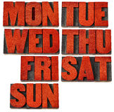 Days of week in letterpress wood type Stock Photography