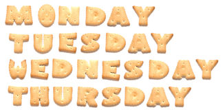 Days of week are made of cookies Royalty Free Stock Photo