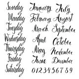 Days of the week, months, and numbers. Calligraphy Stock Photography