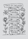 Days of the week with name plate. Hand drawing illustration vector illustration