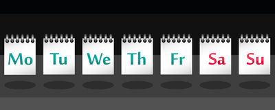 7 days of the week on note in vector. Names of 7 days of the week on notebook in vector Stock Images