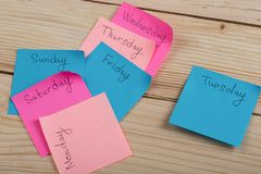 The days of the week - the paper stickers attached to the board is. Sticker with monday tuesday wednesday thursday friday saturday sunday, concept, background stock image