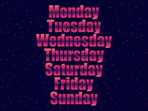 Days of the week in 80`s retro style. Text in the futuristic style, neon. Vector Royalty Free Stock Photo