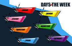Days of week. Days of the week set button, vector illustration Stock Images