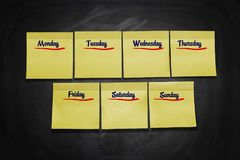 Days of Week Stick Notes stock photos