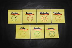 Days of Week Stick Notes Royalty Free Stock Photography