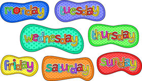 Days of the Week Stitch Text Labels Royalty Free Stock Images