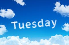Days of the week - tuesday cloud word with a blue sky. Royalty Free Stock Photos
