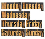 Days of week in wood type. Seven days of week from Monday to Sunday - a collage of isolated words in vintage letterpress wood type stock photos