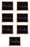 Days of the week. Written on blackboard stock photos